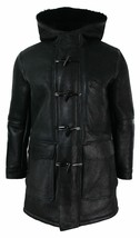 Men's New Handmade Black Sheepskin Fur Lined Leather Duffel Coat SC113 - $699.00