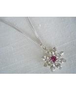 Silvertone Necklace, Clear Rhinestone Flower Amethyst Center - $7.99