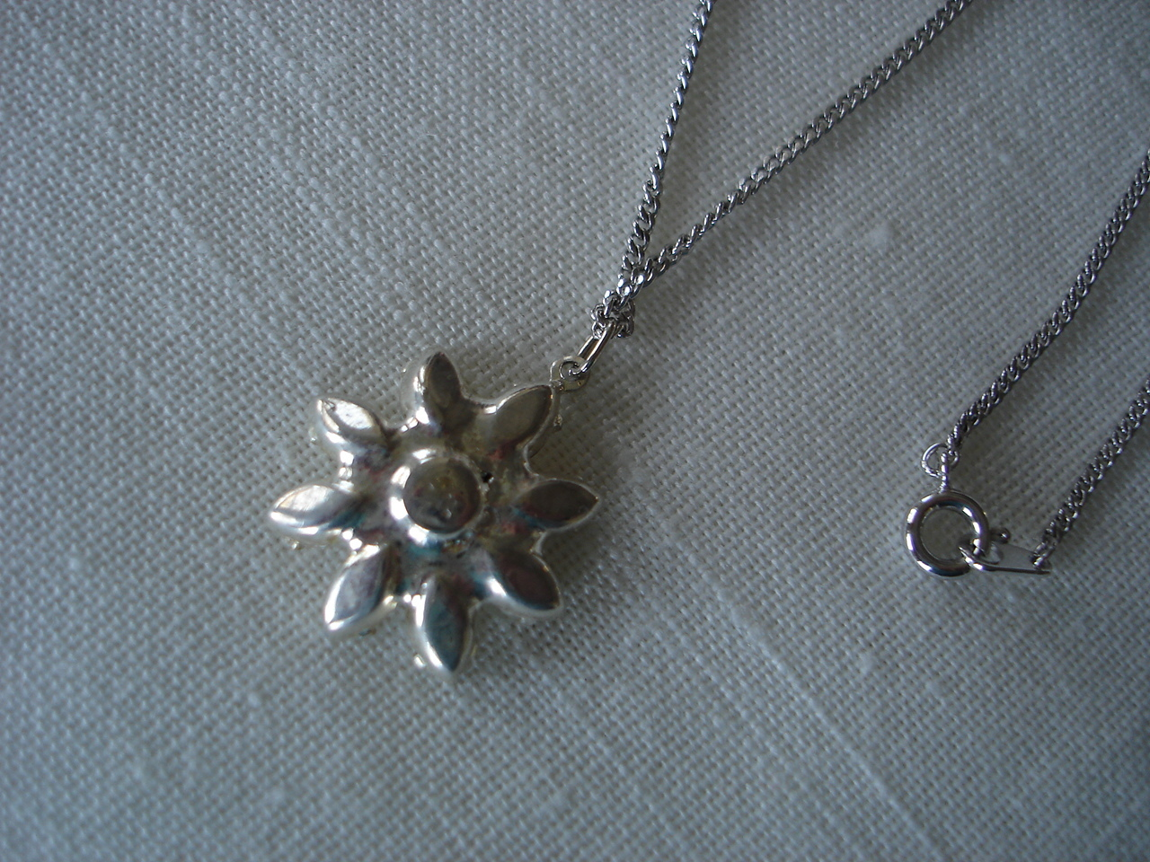 Silvertone Necklace, Clear Rhinestone Flower Amethyst Center