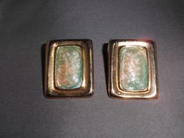 VTG Large Gold Tone Peach & Green Enameled Rectangle 1980's Earrings - $9.90