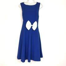 modcloth lindy bop blue sleeveless A line white bow dress Size XL Rockab... - $28.67