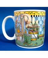 Debbie Mumm Mug Garden Vignette Wellies Potting Bench Colorful Gardening - $28.00