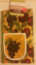 "Fabric Kitchen Apron with pocket, (23"" x 31"") GRAPES & FRUITS, 100% Cott... - $9.89"