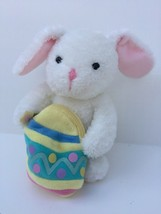 Hallmark Plush White Easter Bunny Rabbit w/ Egg Purse Pouch Zippered Poc... - $9.41
