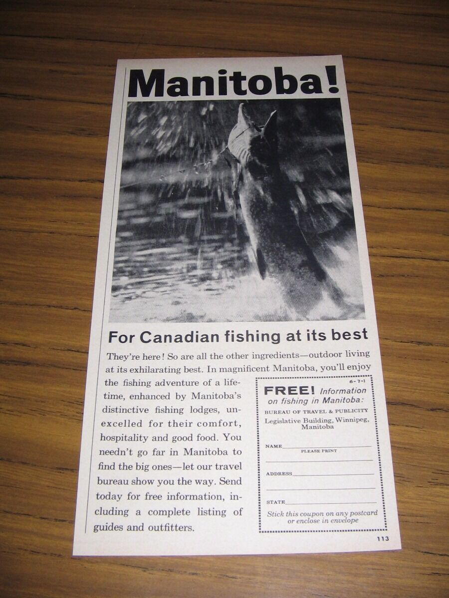 Primary image for 1960 Print Ad Manitoba Bureau of Travel Canada Fishing