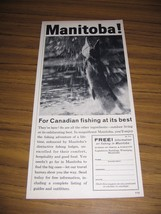 1960 Print Ad Manitoba Bureau of Travel Canada Fishing - $10.40