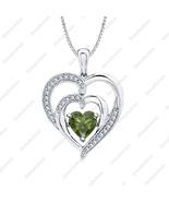 Heart Green Tourmaline & Diamond 14k White Gold Over LOVE Double Heart N... - $68.79