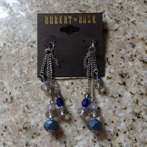 NEW ON CARD ROBERT ROSE BLUE & CLEAR FACETED BEADED SILVER TONE DANGLE E... - $14.24