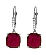 Genuine Diamond Ruby Red Gemstone Dangle Lever Back Earrings 14K Solid Gold - $540.00