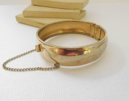 Vintage Signed Coro Pegasus Gold Tone Bangle Bracelet C8 - $18.69
