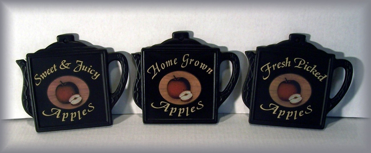 Set/3 Coffee Pot Shaped Ceramic COUNTRY APPLE Trivets