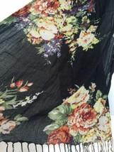 Bouquet of Flowers on Black Scarf Gypsy Bohemian Boho Style Tassels Long... - $19.99