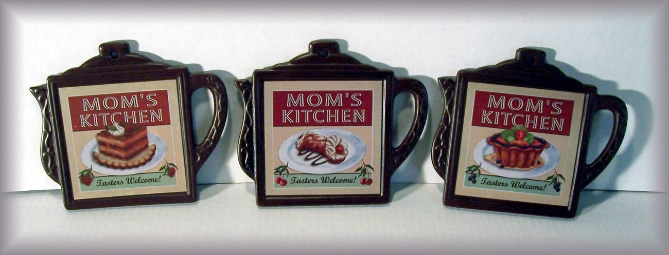 Set/3 Coffee Pot Shaped Ceramic MOM'S KITCHEN Trivets