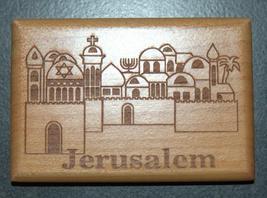 Israel Olive Wood Small Magnet Judaica Messianic Menorah Jerusalem Peace Dove image 2