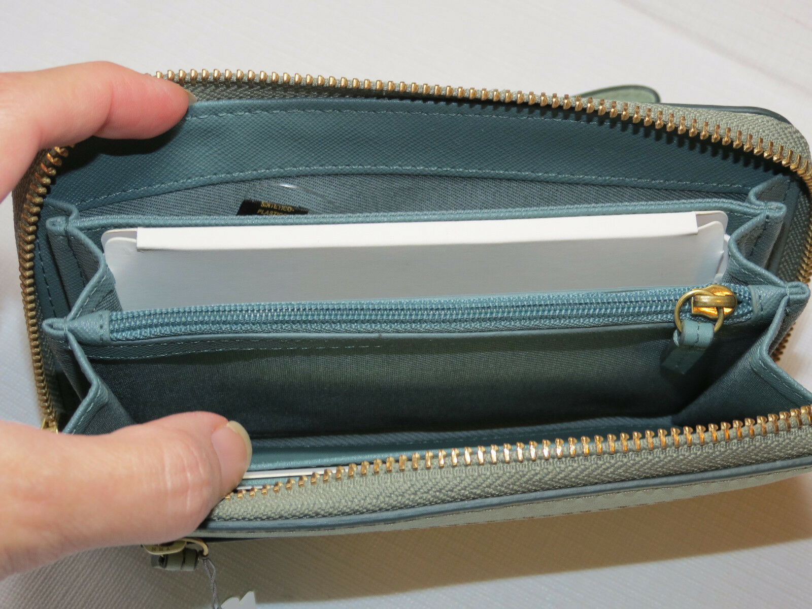 Fossil SL7151336 RFID Emma Smartphone Wristlet Lght Sage wallet clutch leather*^ image 6