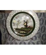 Alpine White Dark Green Band Windmill Plate Woo... - $23.99