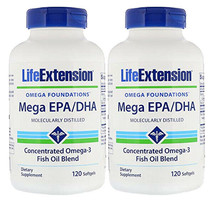 Life Extension Mega EPA/DHA 2X120gels Molecularly Distilled Vitamin E - $25.69