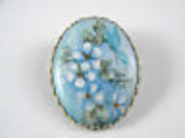 Blue Flower and Butterfly Hand Painted Pin Vintage Jewelry - $17.99