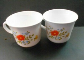 Two Corning Corelle  Wildfloweer Floral Center Flat Cups Mugs Made in USA 3 inch - $6.50