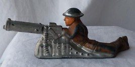 1940's Barclay Manoil Toy Soldier Machine Gun Laying Down Kneeling Height Lead