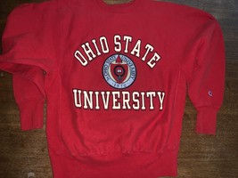 OSU Champion Reverse Weave VTG Ohio State Sweatshirt L Red USA Made Rare... - $47.50