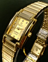 New Swistar 9584L Ladie's Precision Quartz Gold Dial and Gold tone Watch - £50.38 GBP