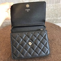 BNIB AUTHENTIC CHANEL BLACK QUILTED CAVIAR SQUARE FLAP BAG SHW image 7