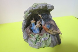 "Ceramic Figurine Mother Feeding Baby Birds In Nest 5.5"" Tall x 6""W - $9.90"