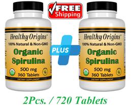 2 x Healthy Origins Organic Spirulina 500 mg Kosher 720 Tabl 100% Natural No GMO - $43.00
