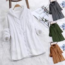 Women Autumn Long Sleeve Coat Fleece Zipper Fly Hooded Solid Color Sweatshirts s - $14.99+