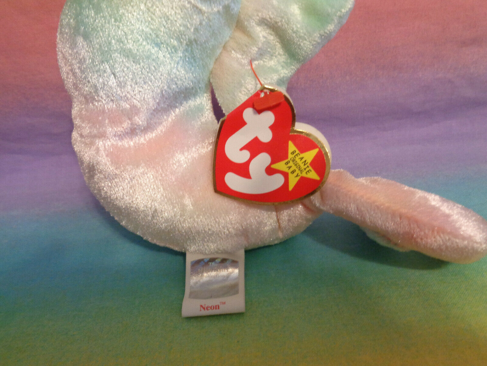 Vintage 1999 Ty Beanie Baby Retired Neon the Seahorse w/ Tags image 3