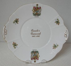 ROYAL GREGG China HANDLED CAKE PLATE - CANADA CENTENNIAL 1867-1967 Coat ... - $10.90