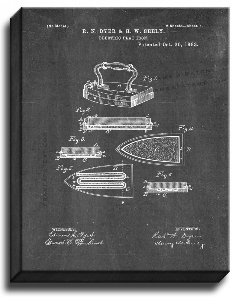 Primary image for Electric Flat Iron Patent Print Chalkboard on Canvas
