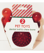 2 Pet Toys, 1 Dental Ball and 1 Chew Bone, Red, New - $9.88
