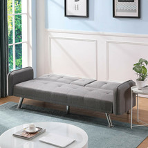 Sleep Sofa Light Grey Reversible Sectional Futon Small Apartment 2Cup Ho... - $282.14