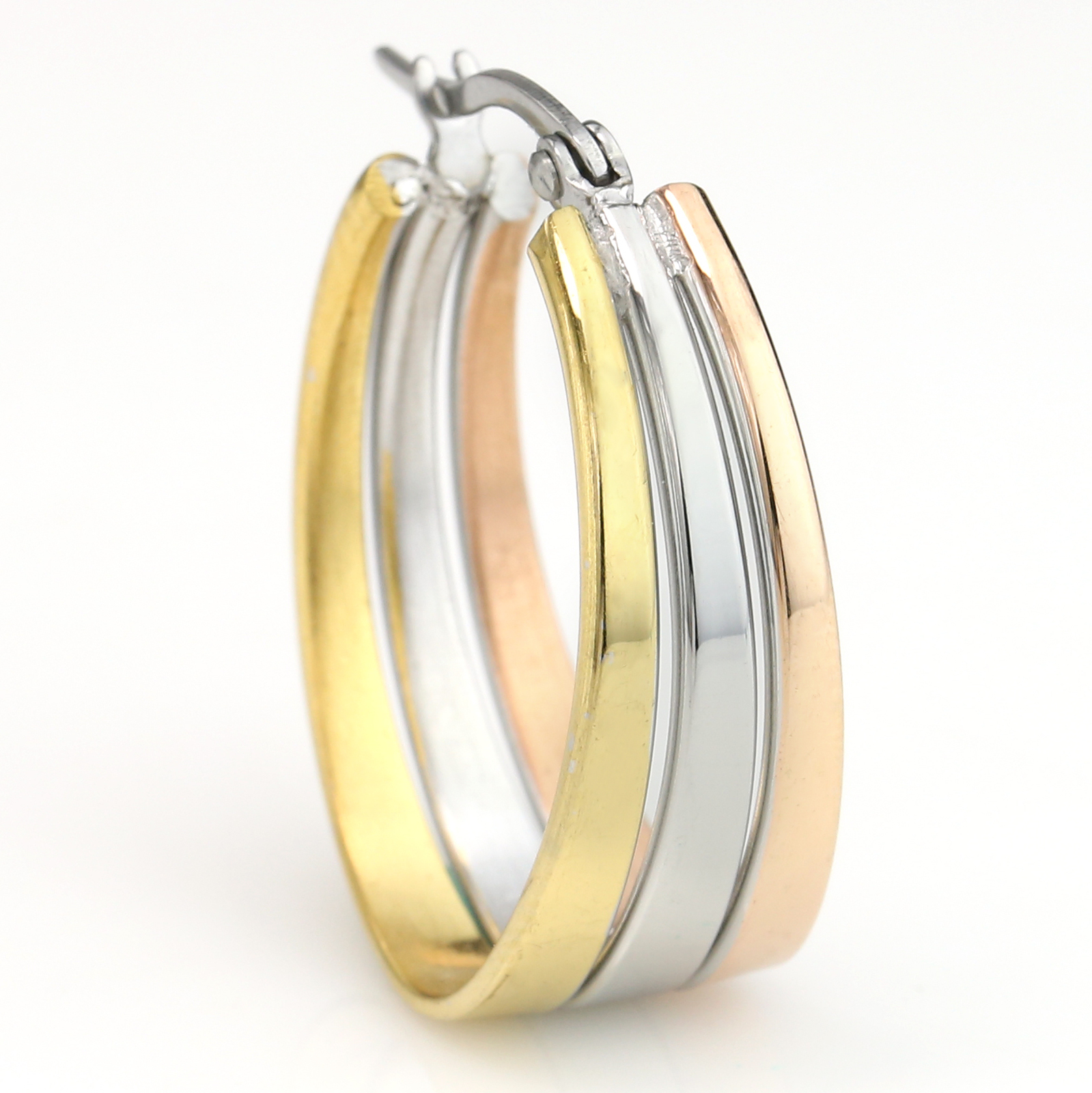 Polished Oval Tri-Color Silver, Gold & Rose Tone Hoop Earrings- United Elegance