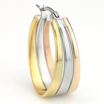 Polished Oval Tri-Color Silver, Gold & Rose Tone Hoop Earrings- United Elegance image 2