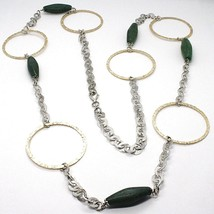 SILVER 925 NECKLACE, GIADA GREEN, CIRCLES YELLOW, 100 CM, ROLO' TEXTURED image 1