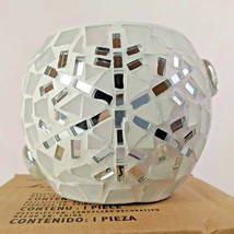 White Mirror Snowflake Mosaic Votive Candle Holder Homco Home Interiors ... - $21.95