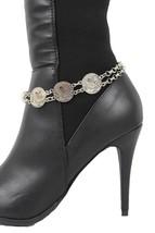 Women Fashion Boot Chain Bracelet Silver Metal Vintage Coins Shoe Strap Charm - $17.63