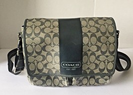 Auth COACH Heritage Stripe Map Bag F70590 Black Gray PVC &  Leather Unis... - $61.37
