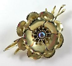 Statement Coro Pin Brooch Signed Flower AB Gold Toned Wedding Bridal Gift Vtg image 8