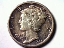 1934 Mercury Dime Toned Choice Uncirculated /GEM Full Split Bands CH.UNC./GEM Fb - $48.00