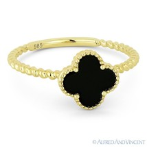 0.59ct Black Onyx 14k Yellow Gold Right-Hand 4-Leaf Flower Charm Statement Ring - €258,86 EUR