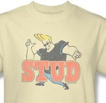 Johnny Bravo Stud T-shirt cartoon network 100% cotton beige graphic tee CN253 image 1