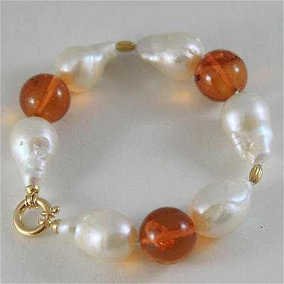 18K YELLOW GOLD BRACELET WITH STRAND OF PEARLS AND AMBER 7.87 IN MADE IN ITALY