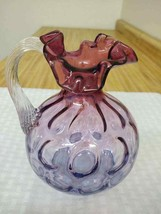 Vintage Fenton ruffled coin spot pitcher with oval incised Fenton mark - $38.00