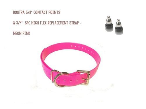 "DOGTRA 5/8"" Contact Points & 3/4"" SPC High Flex Replacement Strap - Neon Pink"