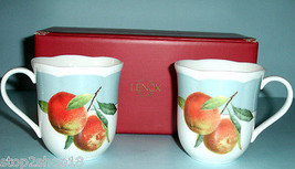 Lenox ORCHARD IN BLOOM 2 Accent Coffee Mugs Peach Fruit Motif New Boxed - $29.90