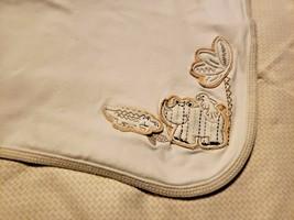 Little Me Cotton Baby Blanket Tan Brown Ivory Cream  Animals Rhino Gator Tree - $29.68